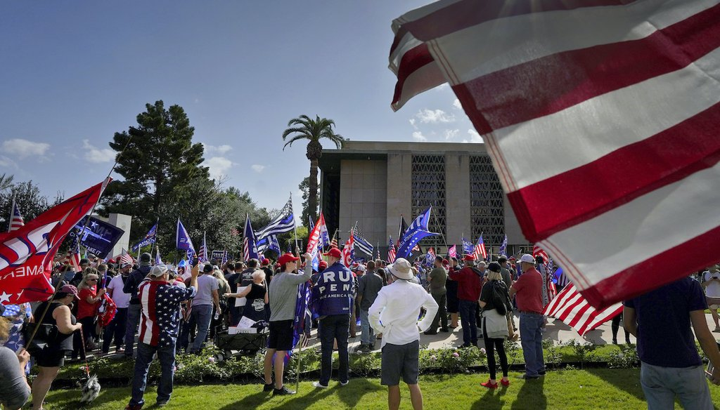 Pro Trump supporters rally outside the State Capitol, Saturday, Nov. 7, 2020, in Phoenix. President-elect Joe Biden defeated President Donald Trump to become the 46th president of the United States. (AP)