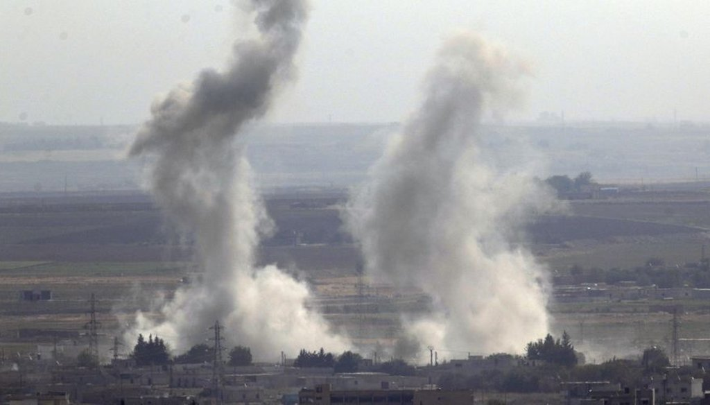 Smoke and dust billow from targets in Ras al-Ayn, Syria, caused by bombardment by Turkish forces on Oct. 15, 2019. Turkish artillery pounded suspected Syrian Kurdish positions. (AP)
