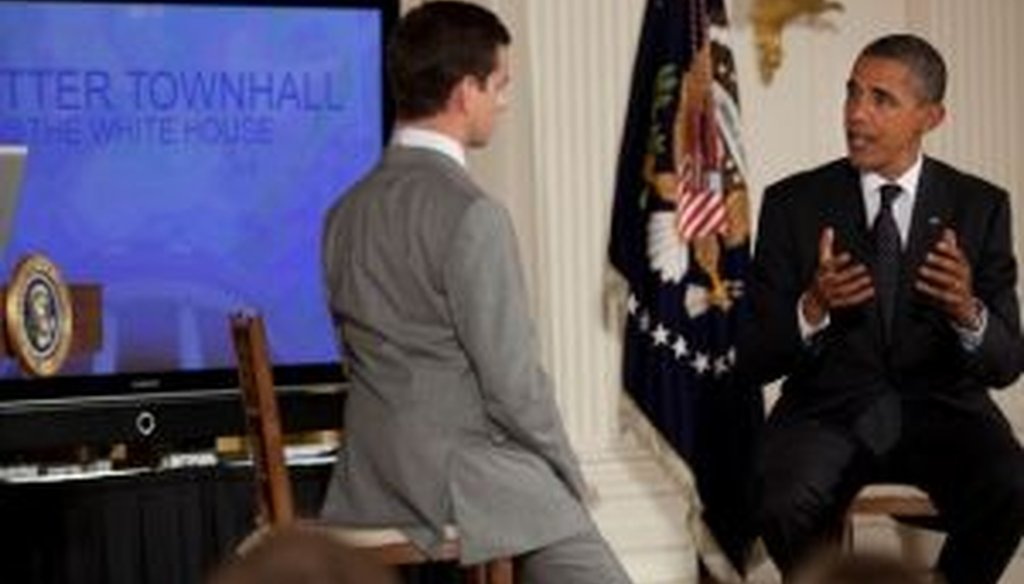 President Barack Obama held a Twitter town hall from the White House on July 6, 2011. We checked a few of his statements.