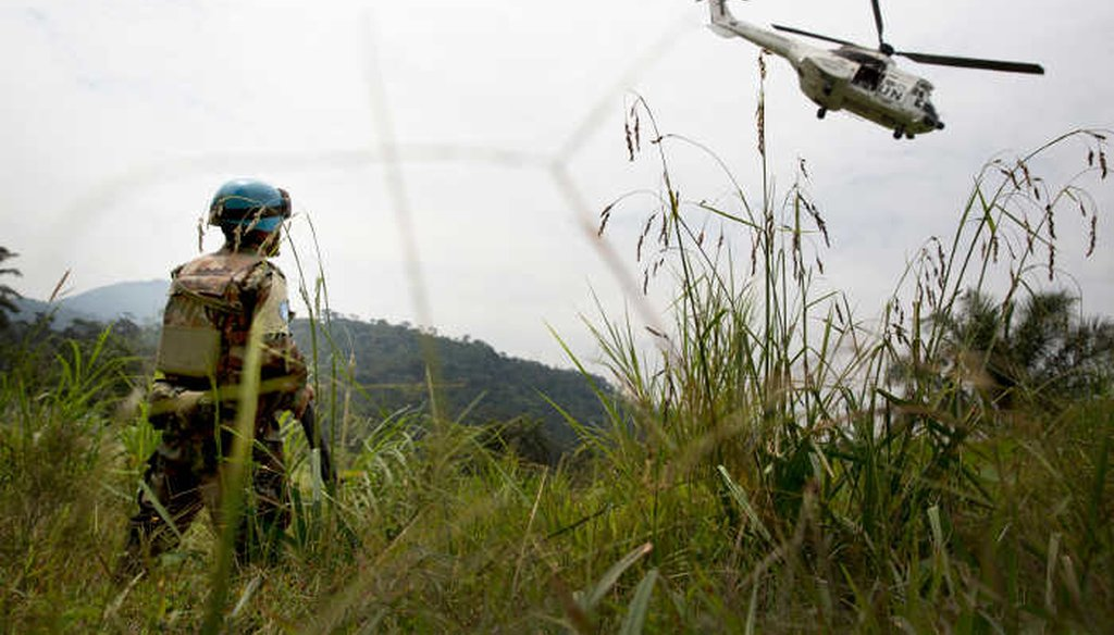 A U.N. peacekeeper watches a departing helicopter from U.N mission in the Democratic Republic of Congo. (United Nations)