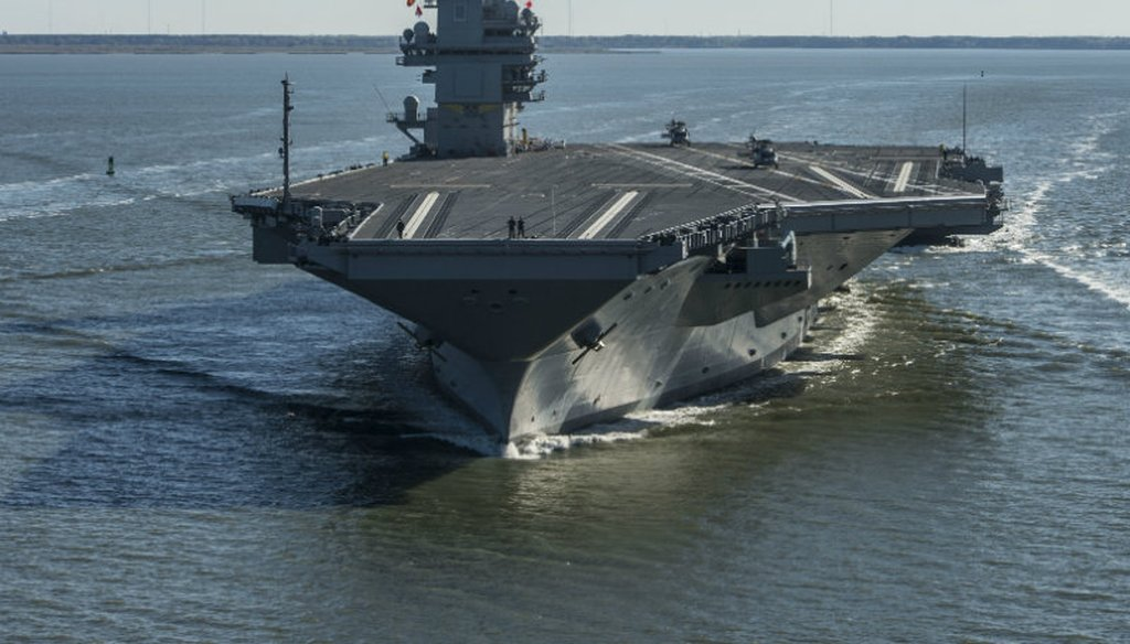 In this photo provided by the U.S. Navy, the USS Gerald R. Ford embarked on the first of its sea trials to test various state-of-the-art systems on its own power for the first time Saturday, April 8, 2017, from Newport News, Va.
