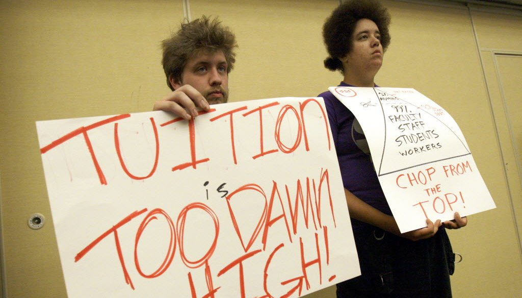 Students at the University of Wisconsin-Milwaukee protested tuition hikes in June 2012. UWM is part of the UW System, which is being criticized for accumulating cash reserves while raising tuition rates.