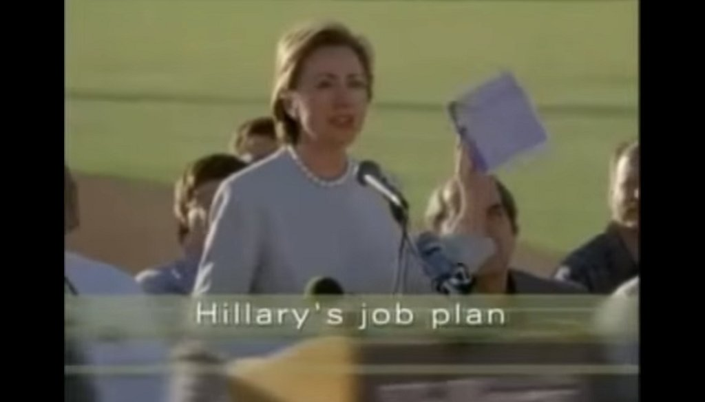 While running for senate in 2000, Hillary Clinton ran an ad campaign promising more jobs for upstate New York. (Image via Youtube)