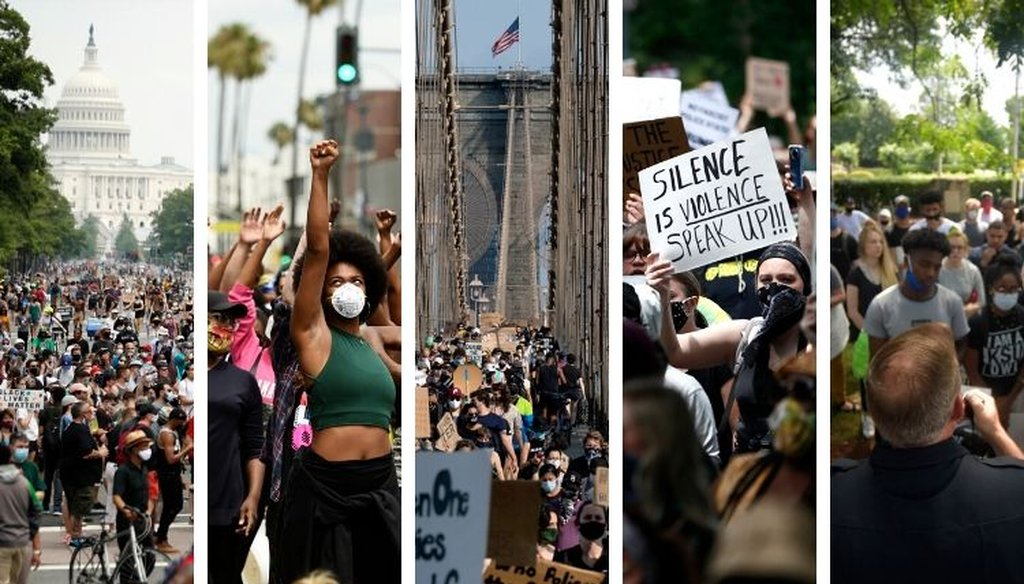 (From left): Protests in Washington D.C., Beverly Hills, Calif., New York City, St. Paul, Minn., and Kennesaw, Ga., during the first weekend of June 2020. (AP)