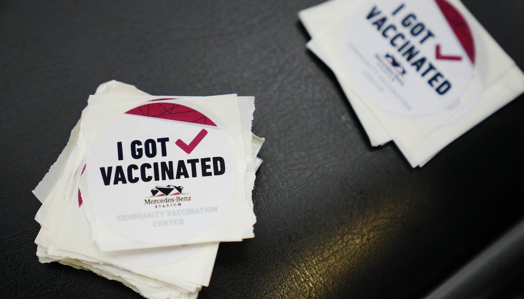 "Stickers that say ""I got vaccinated"" are seen at Mercedes-Benz Stadium on March 25, 2021, in Atlanta. (AP/Anderson)"