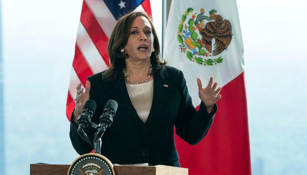 Vice President Kamala Harris speaks to the media, June 8, 2021, in Mexico City. (AP)