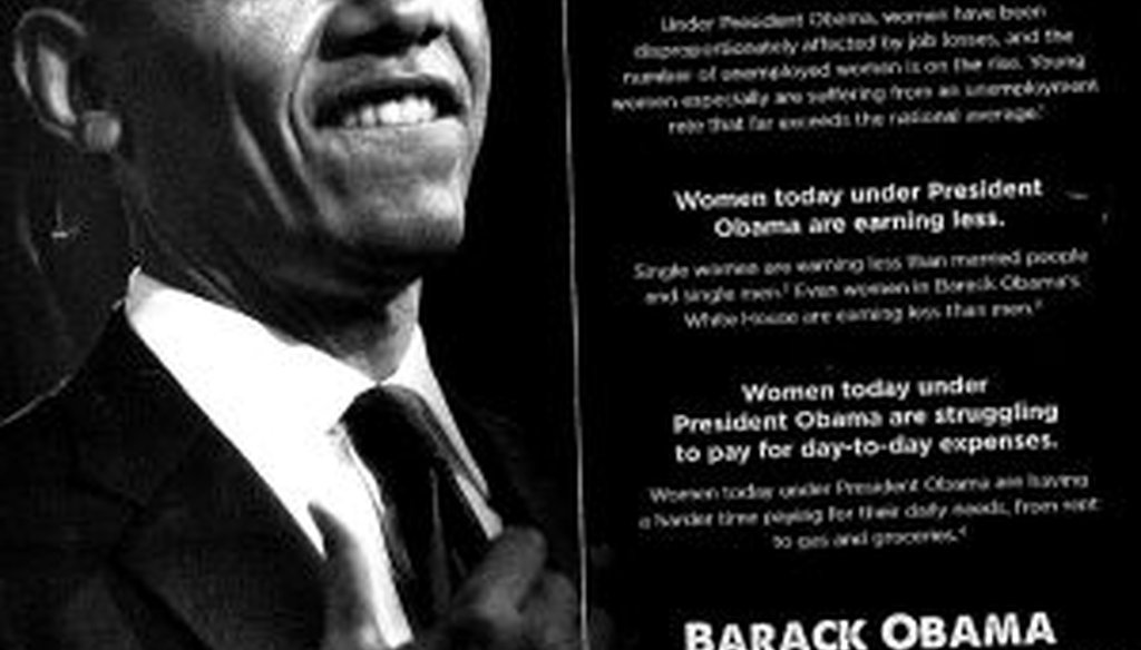 In this mailer to voters, Mitt Romney says that women in Barack Obama's White House earn less than men. We check to see if that's correct.