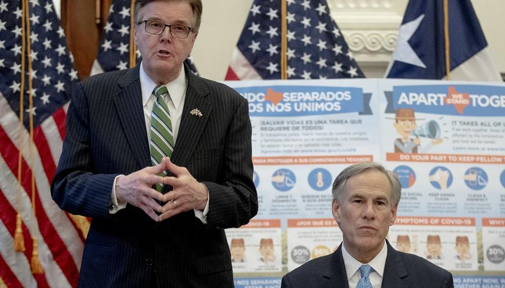 Texas Lt. Gov. Dan Patrick speaks while Gov. Greg Abbott listens at a press briefing about the coronavirus in the state (Nick Wagner/Austin American-Statesman).