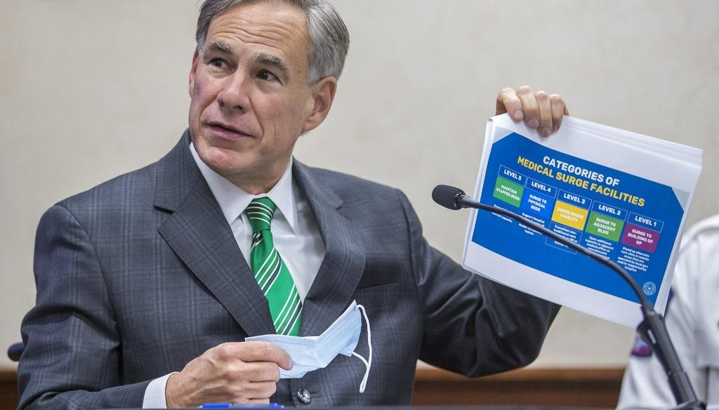 Texas Gov. Greg Abbott shared three claims about the coronavirus in Texas during a press conference in June. [Ricardo B. Brazziell/American-Statesman]