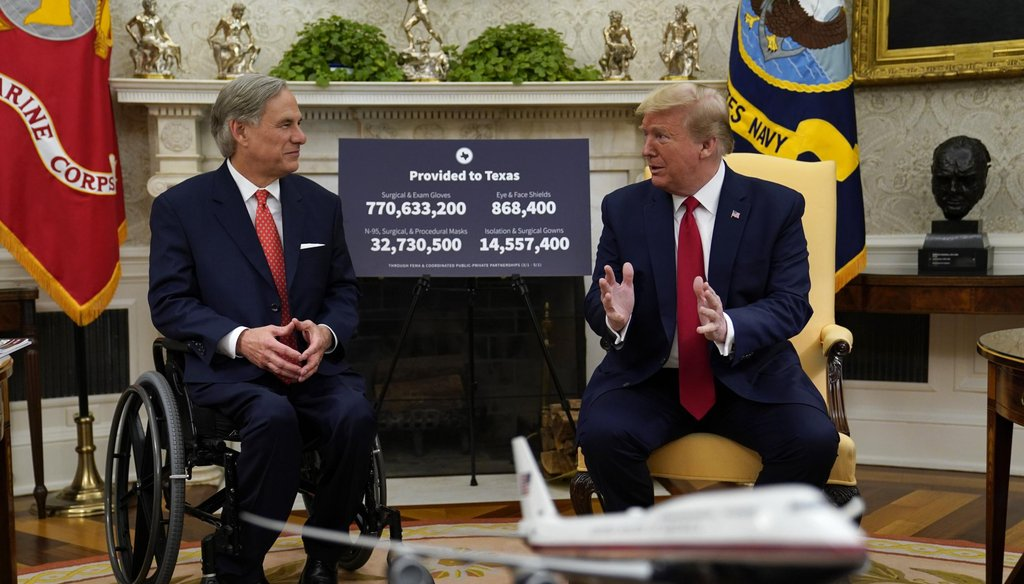 Texas Gov. Greg Abbott meets with President Donald Trump to discuss his state's response to the coronavirus (AP Photo/Evan Vucci).