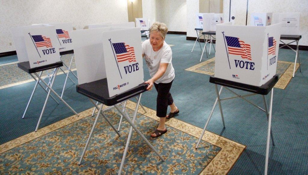 Voters cast ballots for the president in Florida Nov. 8, 2016. (Joseph Garnett, Jr./Tampa Bay Times)