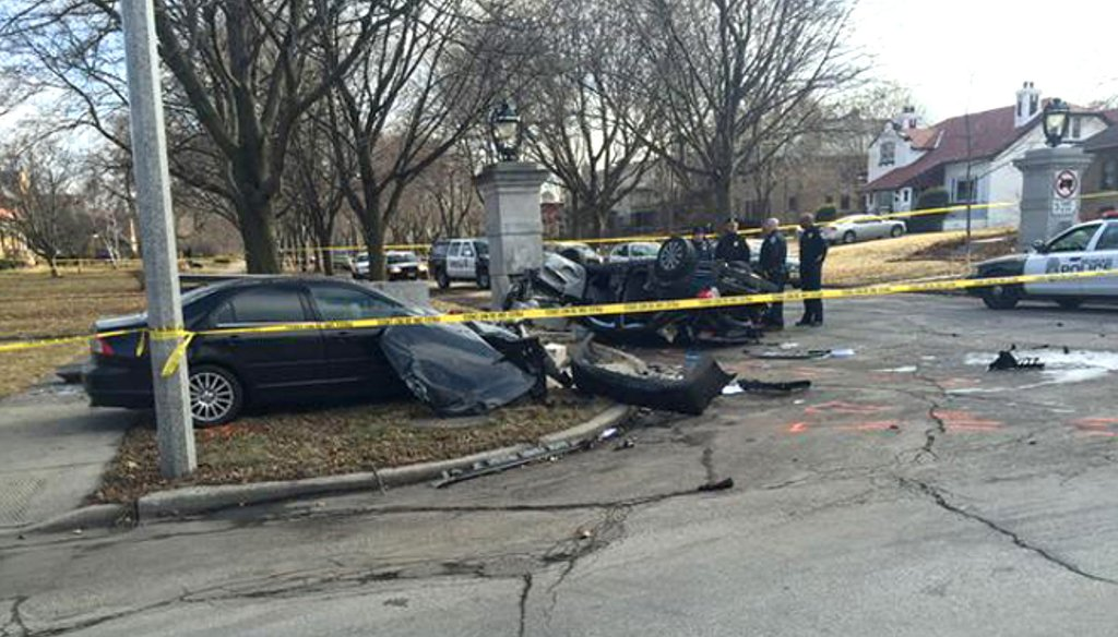 Two youths in a speeding stolen car were killed and two others were injured in 2015 when the driver ran a stop sign and collided with another car in Milwaukee's Washington Heights neighborhood, police said. (Milwaukee Police Department.)