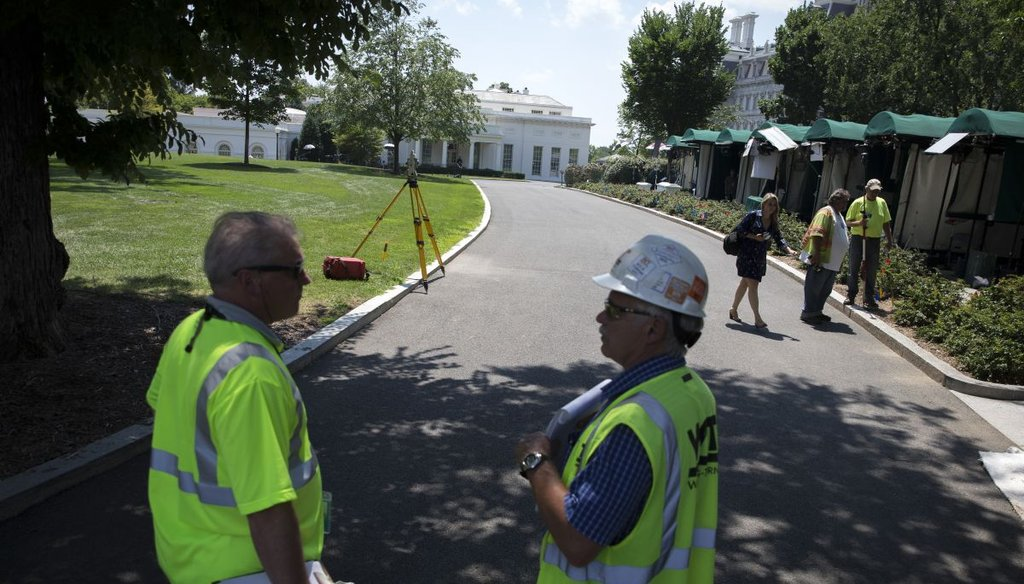 A construction crew starts work on a renovation of the White House's West Wing  on Aug. 4, 2017.