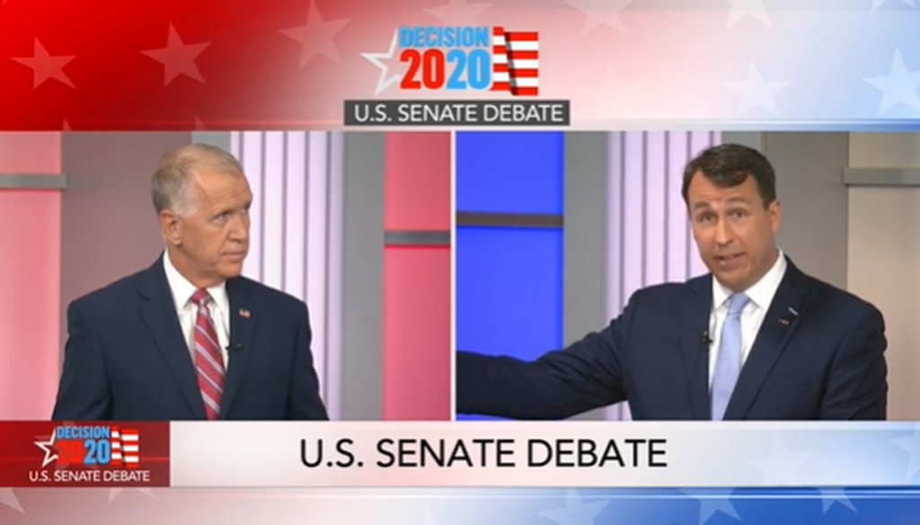 Democrat Cal Cunningham and his opponent, U.S. Sen. Thom Tillis (R-North Carolina), appeared in a debate on WRAL on Sept. 14, 2020.