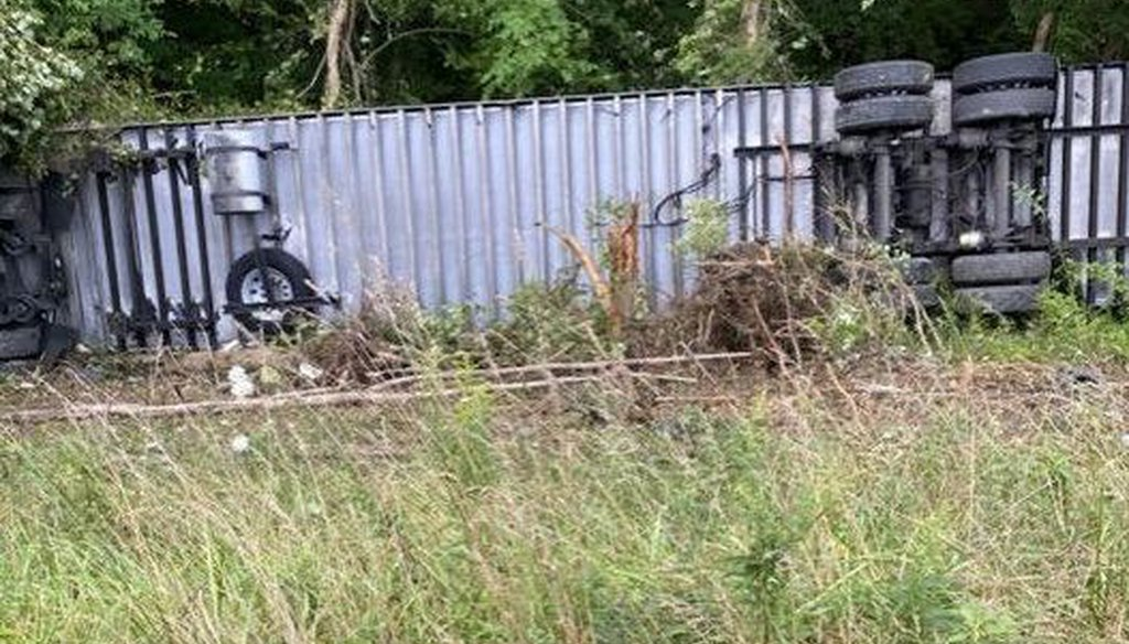 A truck carrying Moderna vaccines crashed near Morgantown, W.Va., on Aug. 27. (West Virginia 511)