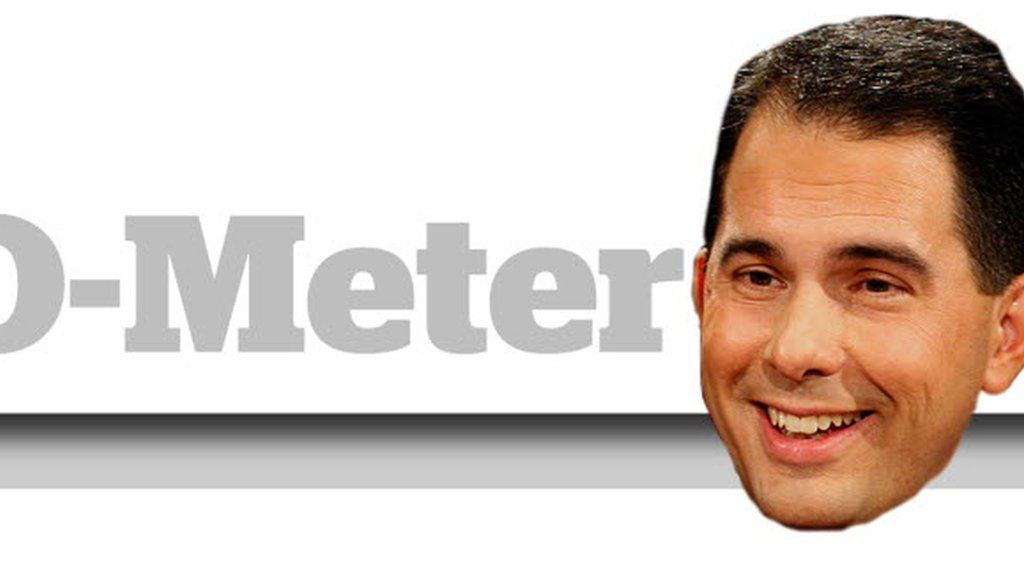 The Walk-O-Meter  tracks 60-plus promises made by Gov. Scott Walker on the campaign trail.