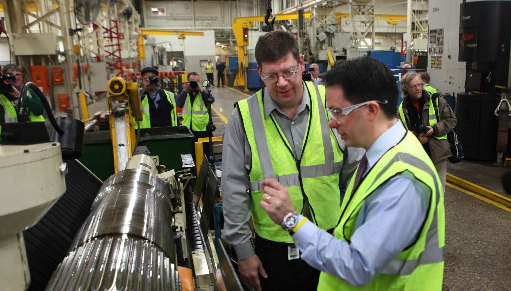 Gov. Scott Walker toured a mining products manufacturing facility on Feb. 28, 2012.