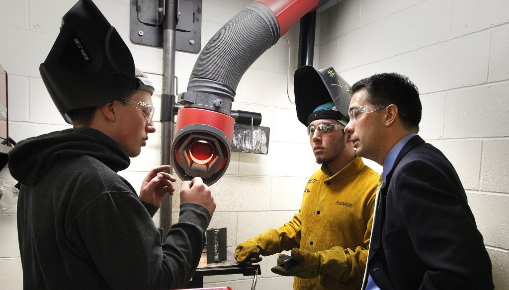 Gov. Scott Walker visited with welding students at Waukesha County Technical College in October 2013.