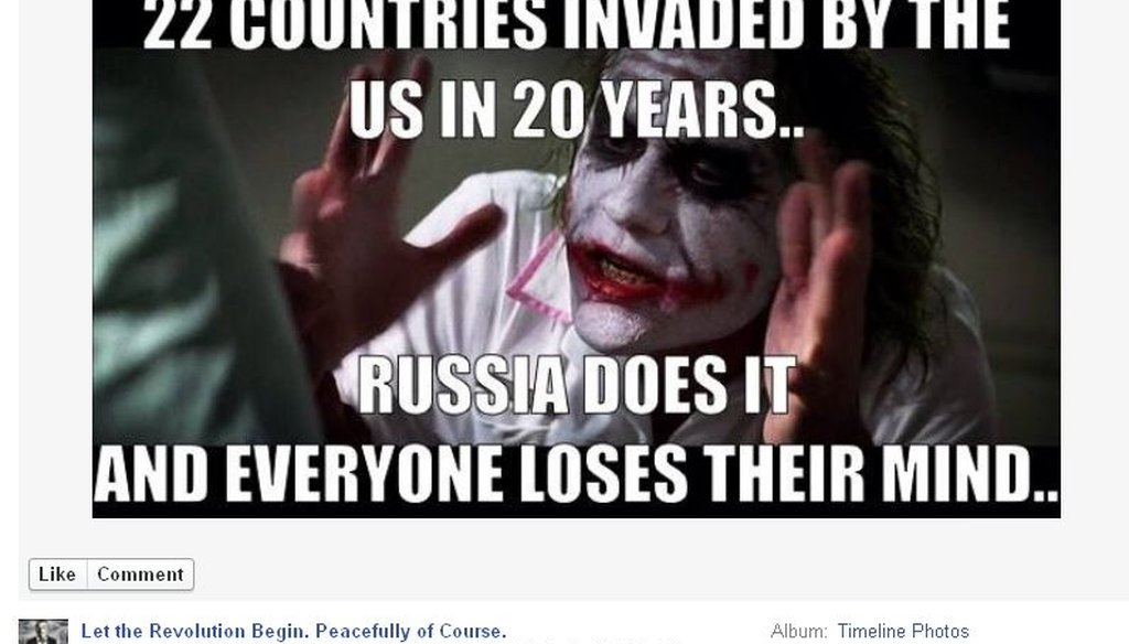 A reader sent us this Facebook meme, claiming that the United States had invaded 22 separate countries in the past two decades. Was it accurate?