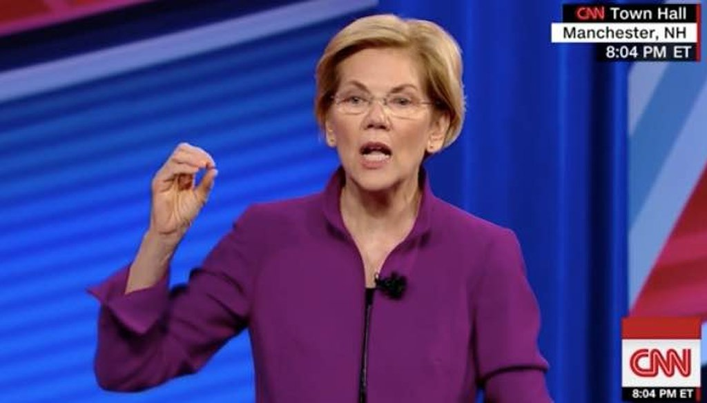 Sen. Elizabeth Warren described the revenues from her wealth tax on the top 0.1% of Americans at a CNN town hall. (Screenshot)