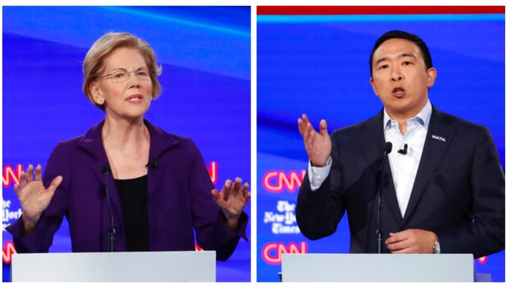 Elizabeth Warren and Andrew Yang differed on the impact of trade and automation on jobs. ((AP Photo/John Minchillo)