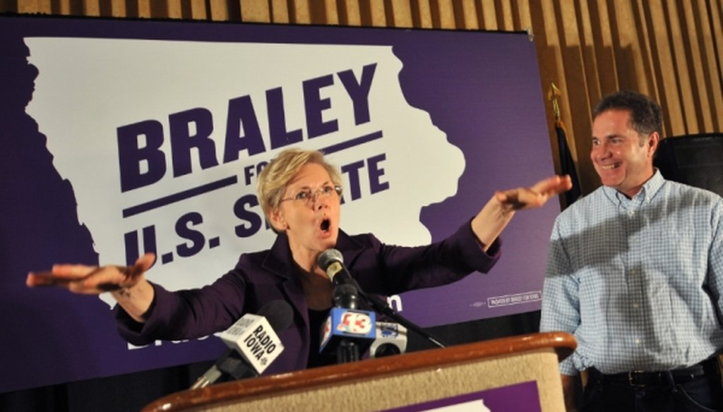 Sen. Elizabeth Warren, D-Mass., has been in demand as a speaker at Democratic campaign events this year. Here she campaigns for the Democratic Senate candidate in Iowa, Bruce Braley, on Oct. 19, 2014, in Des Moines.