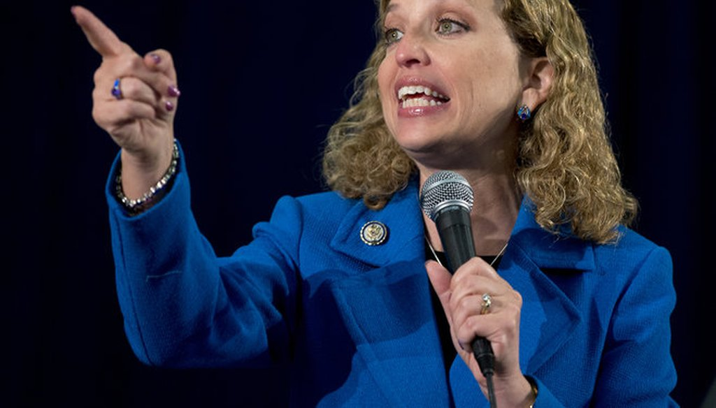 Democratic National Committee chair Debbie Wasserman Schultz is shown speaking in Florida in 2012. On Sept. 3, 2014, in Milwaukee, she criticized Wisconsin Gov. Scott Walker's record on women.