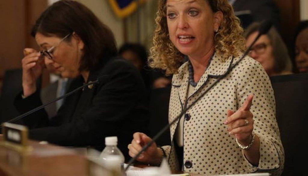 U.S. Rep. Debbie Wasserman Schultz, D-Weston, questions Budget Director Mick Mulvaney on Capitol Hill. Wasserman Schultz fired IT staffer Imran Awan on July 25, 2017, following his arrest on a federal bank fraud charge. (AP)