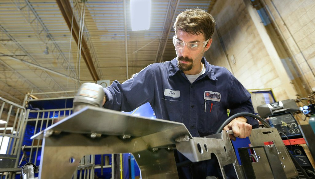 This welder participated in an apprenticeship program at Waukesha County Technical College in suburban Milwaukee. (Mike De Sisti/Milwaukee Journal Sentinel)