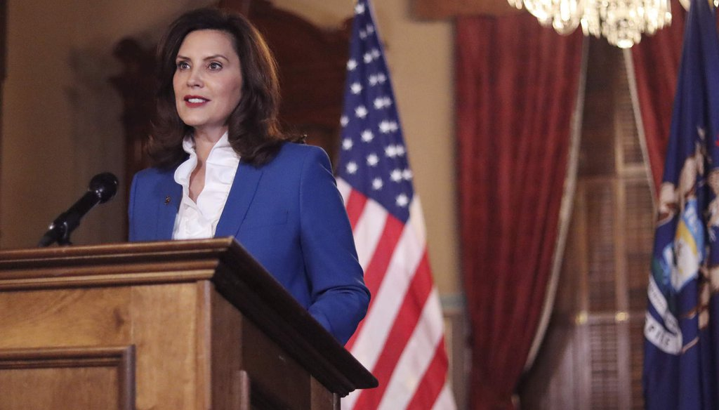 Michigan Gov. Gretchen Whitmer delivers annual State of the State address Jan. 27 (Michigan Office of the Governor via AP)