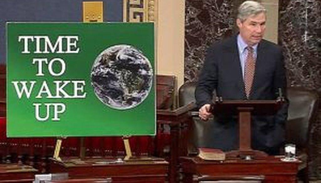 U.S. Sen. Sheldon Whitehouse, D-R.I., spoke on the Senate floor earlier this week about climate change.