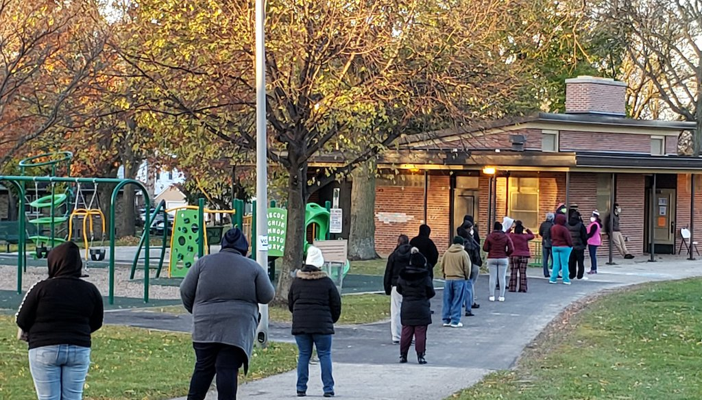 Voters wait in line outside a polling center on Election Day, Tuesday, Nov. 3, 2020, in Kenosha, Wis. (AP)