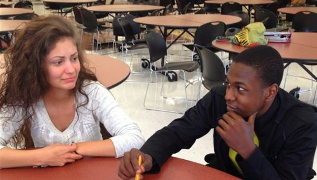 Students Toni Campbell, left, and Rashawn Brooks discuss a student mentoring program at Mount View High School in Welch, W.Va., in 2015. (AP)