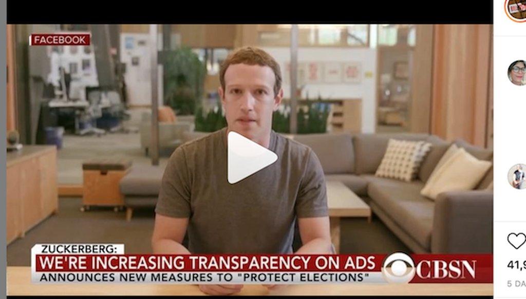 A screenshot of the fake Zuckerberg video
