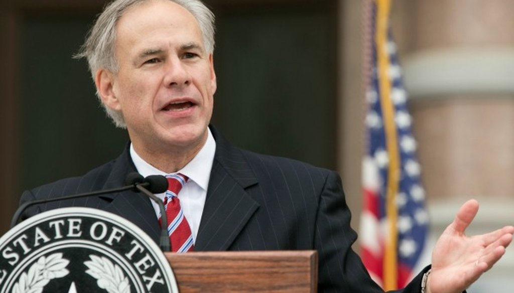 Gov. Greg Abbott, shown here speaking in November 2015, made a False claim about a United Nations arms trade treaty (Austin American-Statesman photo, Jay Janner).