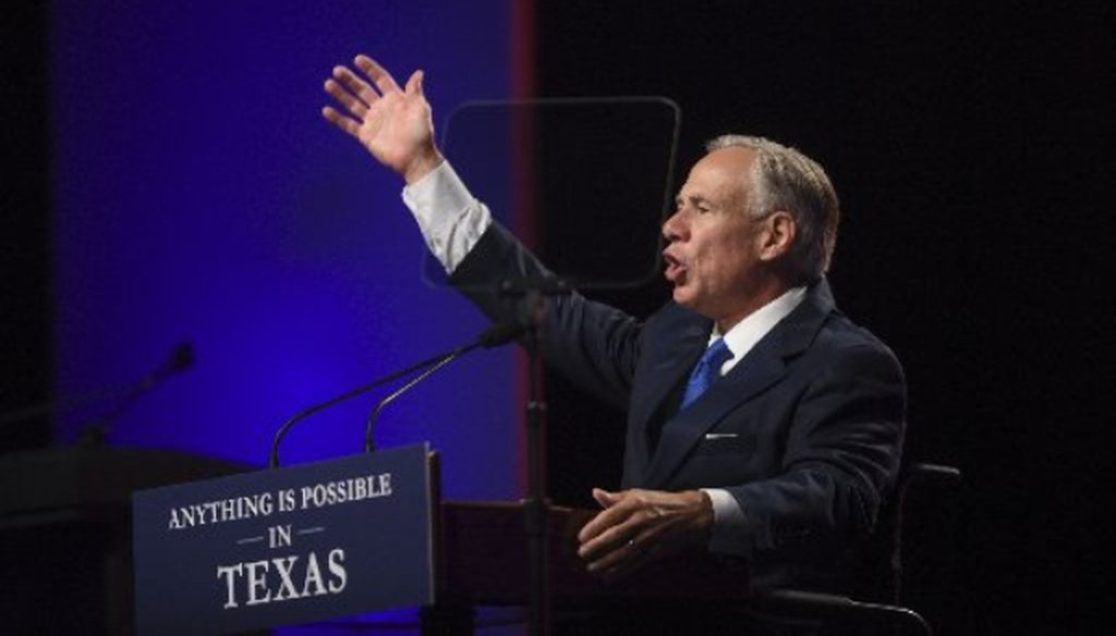 Gov. Greg Abbott, shown here speaking June 15, 2018 at the Republican Party of Texas convention in San Antonio, later told supporters Houston is home to more brothels than Starbucks stores (PHOTO: Billy Calzada, San Antonio Express-News).