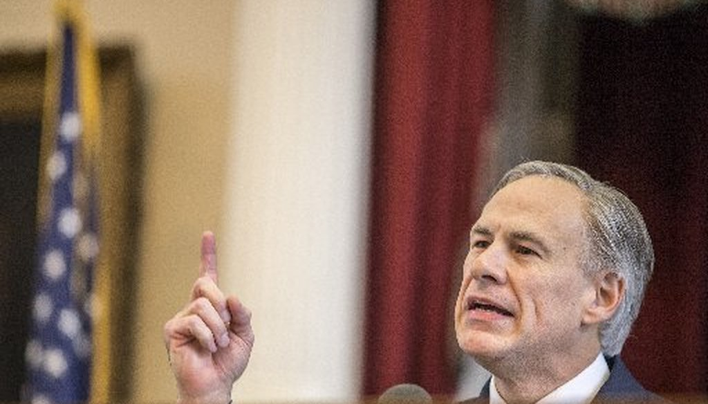 Gov. Greg Abbott talked up AP test results in his February 2015 State of the State address (Photo by Ricardo B. Brazziell, Austin American-Statesman).