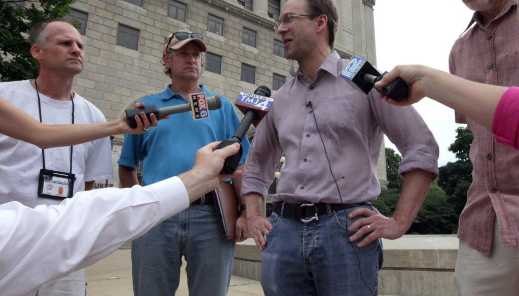 Milwaukee County Executive Chris Abele briefs the media outside the Milwaukee County Courthouse on Sunday, July 7, 2013, following a fire that shut down the building. Mike De Sisti/JS