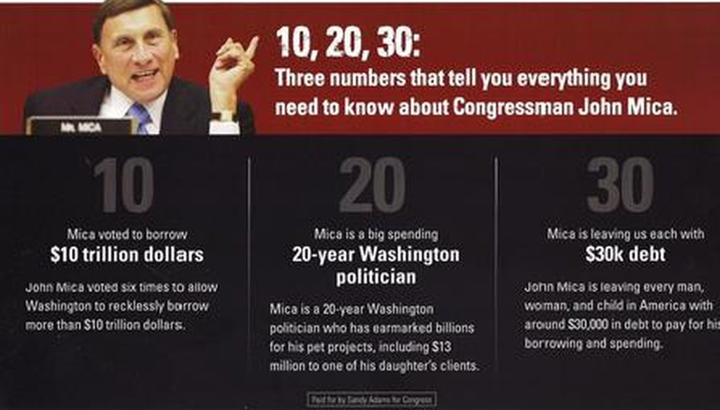 A mailer from the Sandy Adams campaign attacks John Mica over a $10 trillion debt increase.
