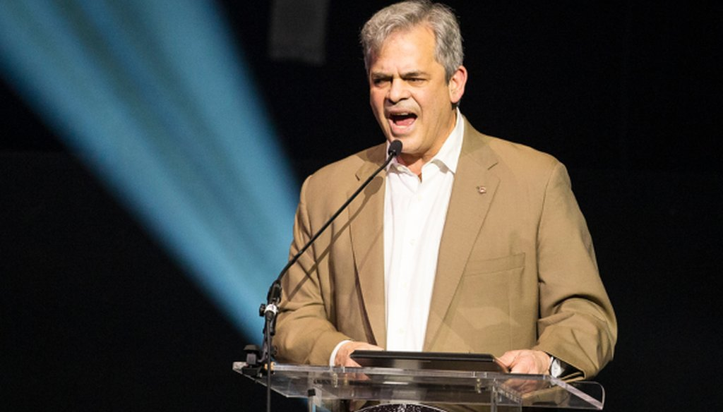 Austin Mayor Steve Adler, shown here at a Feb. 28, 2018 celebration, made a jobs-gained claim about Austin that rated False on the PolitiFact Texas Truth-O-Meter (NICK WAGNER, Austin American-Statesman).