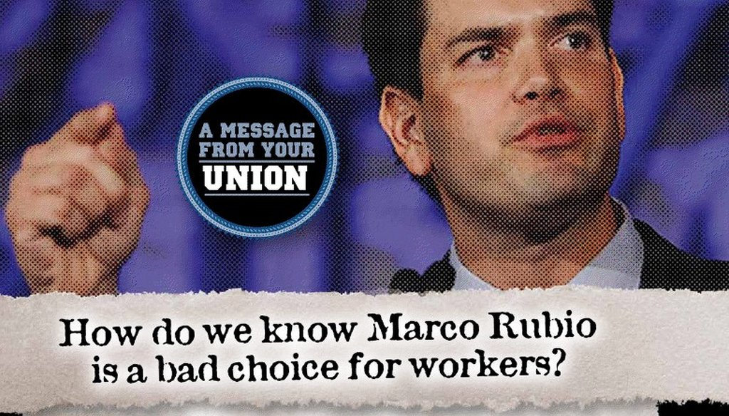 The AFL-CIO is attacking Marco Rubio for opposing an extension to unemployment benefits.