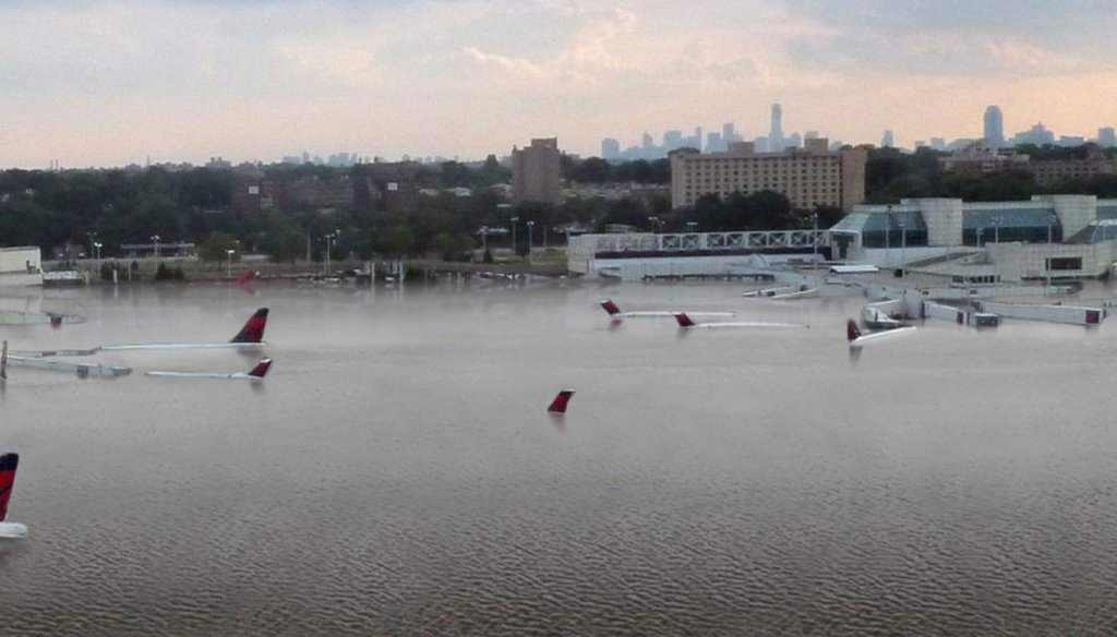 A photo purporting to show a flooded airport in Houston is actually an illustration of the effects of sea-level rise on LaGuardia Airport in New York.