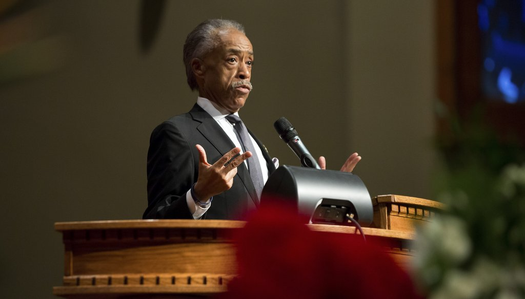 Al Sharpton delivers the eulogy at Michael Brown's funeral in St. Louis, Mo., on Aug. 25, 2014. New York Times photo.