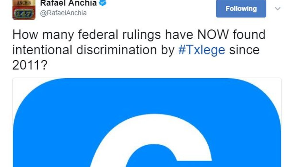 State Rep. Rafael Anchia, D-Dallas, posted this April 2017 tweet. PolitiFact Texas found his claim True.