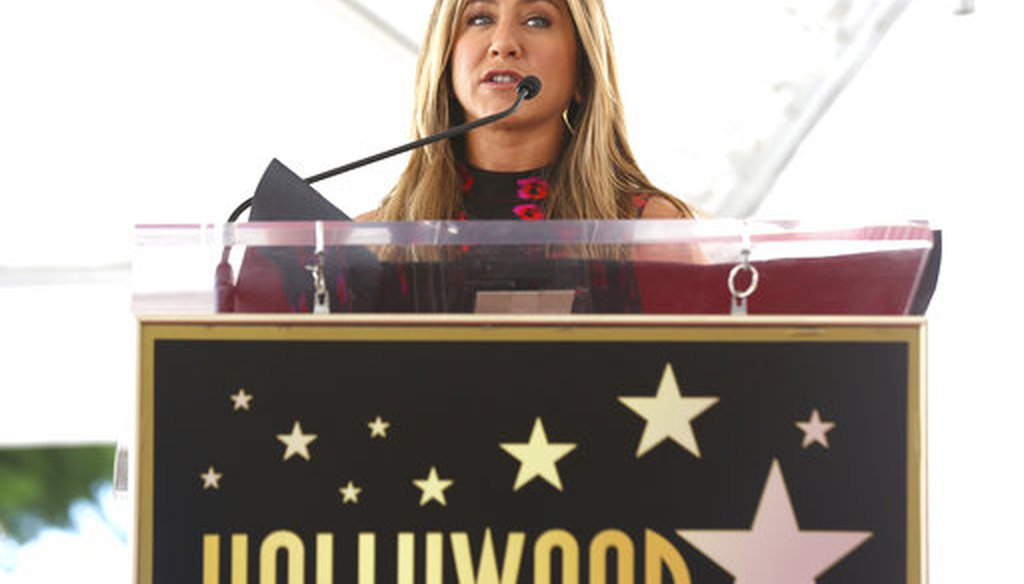 Jennifer Aniston speaks at the Jason Bateman Star ceremony at the Hollywood Walk of Fame on Wednesday, July 26, 2017, in Los Angeles. (AP)