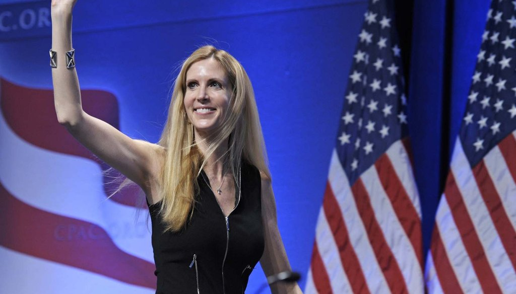 In this Feb. 12, 2011 file photo, Ann Coulter waves to the audience after speaking at the Conservative Political Action Conference in Washington. (AP Photo/Cliff Owen)