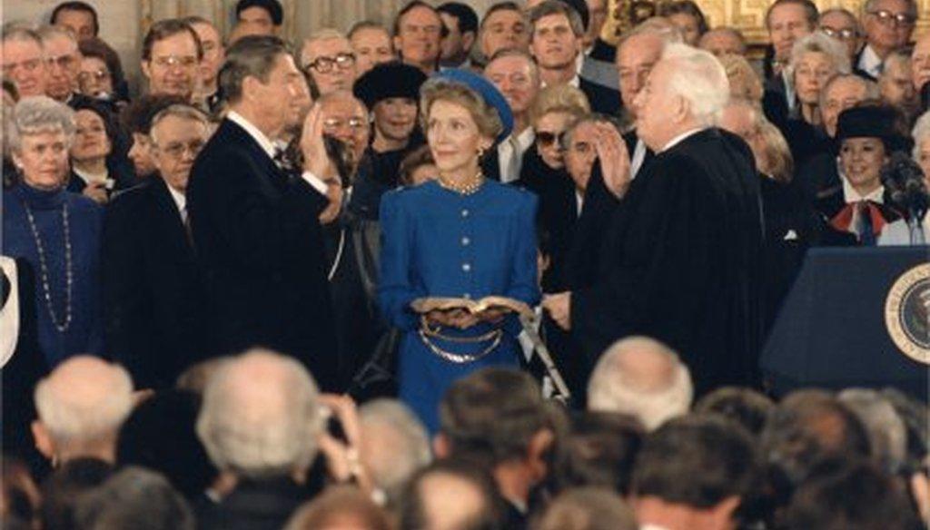 Ronald Reagan's 1985 inauguration took place in the rotunda of the U.S. Capitol. (U.S. Senate Photo Studio)