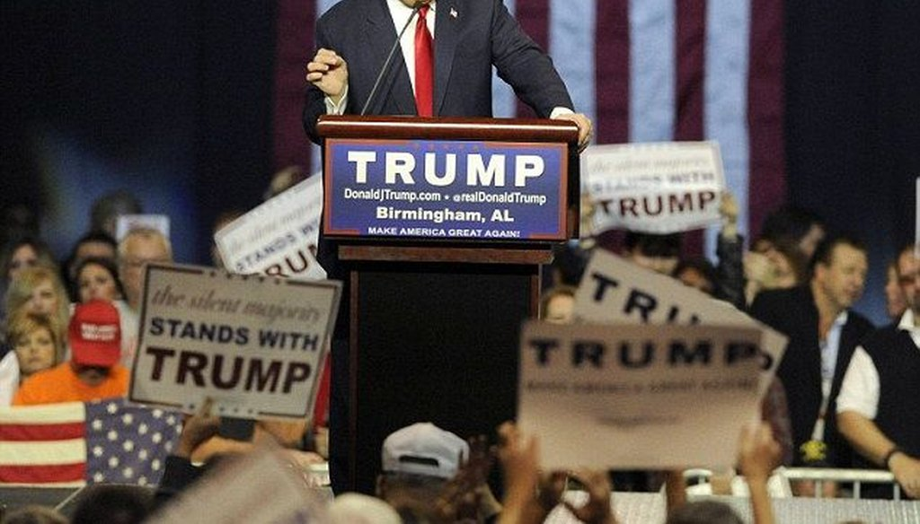 "At a speech Nov. 21, 2015, in Alabama, Donald Trump said ""thousands and thousands"" of people in New Jersey cheered after the Sept. 11, 2001, terrorist attacks. (AP)"