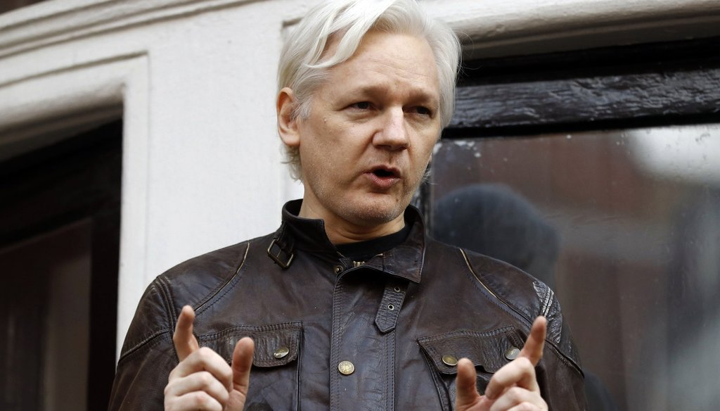 WikiLeaks founder Julian Assange addresses supporters May 19, 2017, outside the Ecuadorian embassy in London, where he has been in self imposed exile since 2012. (AP Photo)