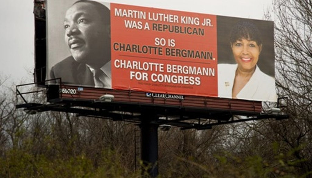 We rate False the claim made by 9th Congressional District candidate Charlotte Bergmann on this billboard along Memphis's Interstate 240 beltway.